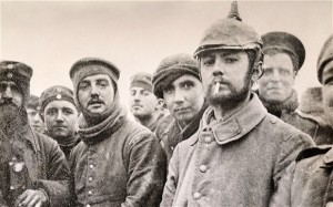 Soldiers of the 5th London Rifle Brigade with German Saxon regimental troops during the truce at Ploegsteer