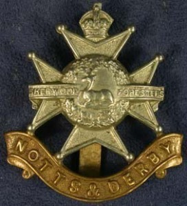 The cap badge of the Sherwood Foresters, Black's regiment.